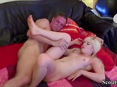 German Girlfriend Teen in Real Amateur Creampie Sex-Tape