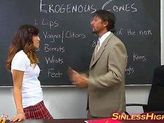 Schoolgirl fucks hung teacher in classroom