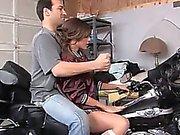 Sweet babysitter fucks in the garage