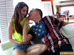 Elektra Rose blowjob her step dads matured cock