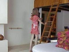 Skinny sweetie opening her hairy vagina