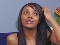 Godess ebony teen arrives for job interveiw
