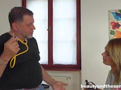 Lara West seduces old doctor Philippe Soine into fucking her
