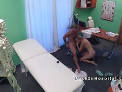 Doctor bangs blonde teen patient in office