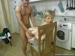 Ugly uncle fucking his adorable niece in the kitchen