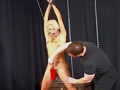 Beauty blonde babe slaved by her master !