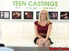 Casting teen deepthroating and hardfucking