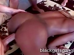 Big ass ebony babe disgraced in rough interracial gang bang