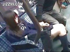 Schoolgirl seduced & fucked by geek on bus
