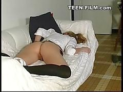blonde teen girl masturbates at home