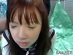 Asian schoolgirl gets her ass rear ended