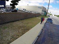 Slender brunette teen hitched and banged inside the car