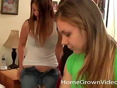 Three amateur lesbian teens get naughty