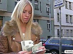 Blonde Kiara sucks and fucks for cash