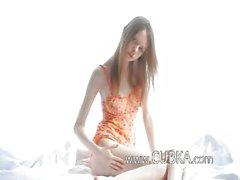 White ultra skinny girl teasing cunt