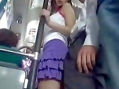 Horny teen in geek bus
