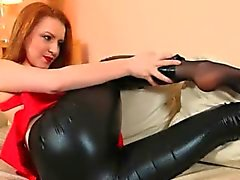 fine black pantyhose and redhead strip