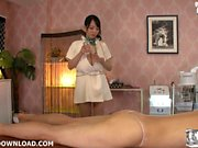 Gigantic tits asian doing massage
