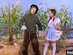 Alexis Adams gets plowed by the scarecrow