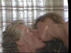 Blonde couple enjoy reverse cowgirl on the couch