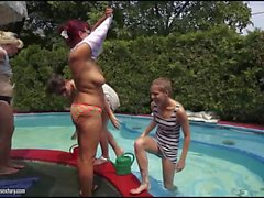 Teens n grannys outdoor lesbian foursome