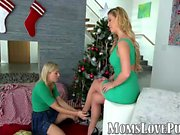 Lesbian mom and cute stepdaughter bang on christmas day