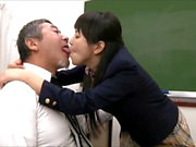 Young Student Tongue Kissing Shy Old Teacher