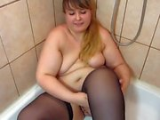 fat girl shaves pussy shower