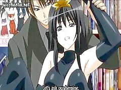 Brunette anime girl is in public and gets her pussy drilled