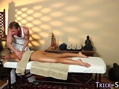 Blonde fucking masseur