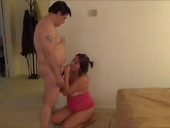 Chubby teen gal having sex with an older man