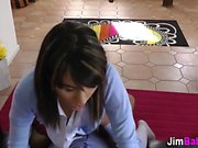 Spunk mouthed teen blows
