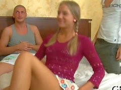 Raunchy threesome drilling leaves a Russian teen sore