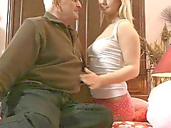 Busty blonde young girl fucks old man