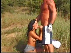Man and his hot young lady fucking in a field