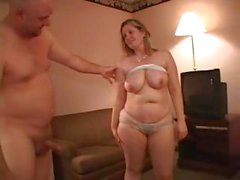 Chubby blonde by older man fucked in the ass