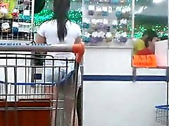Teen At The Grocery Store In Shorts