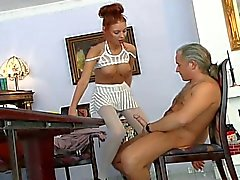 Readhead hot babe get fucked by a old cock !