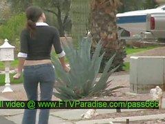 Jenny tender redhead babe walking down the street