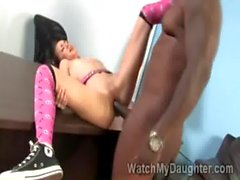 Petite Asian teen Amai Liu gets pumped by hunky black teacher
