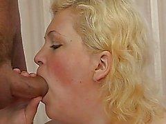 Blonde plump babe feels pleasure