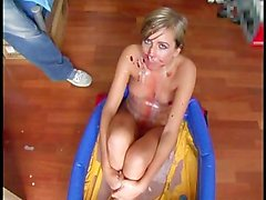 Cute blonde gets messy