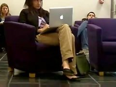 Candid heelpopping and Shoeplat Feet at Library