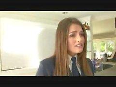 Teen schoolgirl babe allie haze in Uniform upskirt Rough sex