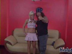 Horny blonde teen pleasures a hard dick