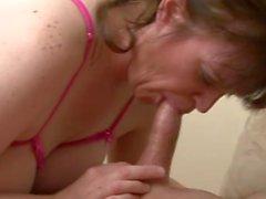 Busty amateur Milf enjoys a young dick