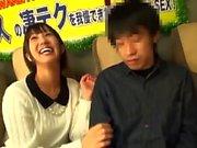 Asian handjob and blowjob with sweet horny schoolgirl