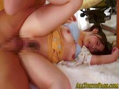 Asian amateur masturbates