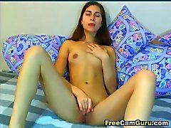 Sexy Brunette Teen Finger Fucks Her Tight Pussy