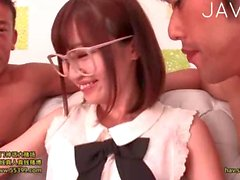 Teen Jap gal jerking off guy cock
